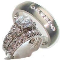 White Gold Over Sterling Silver His & Hers 3 Piece Engagement Wedding Ring Set (Women's 5-9)Men's Ring Titanium (Men's 8-13) Whole & Half Sizes. Email Your Sizes to Us After You Purchase.