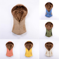 Sleeveless Hooded Vest Padded Wool Coat