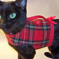 Cat Harness Christmas Red Plaid Flannel for boys or girls