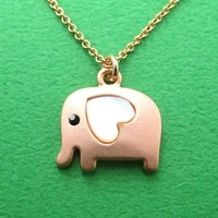 Small Elephant Animal Necklace in Light Copper with Heart ALLERGY FREE from Dotoly Love