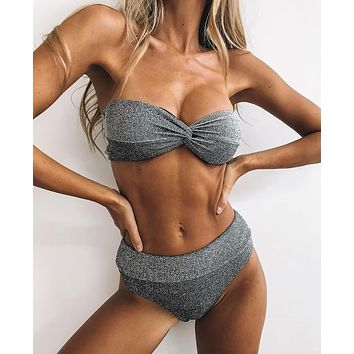 Women's split swimsuit silver silk sexy high waist bikini two-piece suit