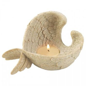 Stone-Look Angel Wings Tealight Candle Holder