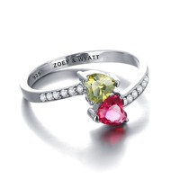 Sterling Silver Personalized 2 Hearts Birthstone CZ Lined ByPass Ring