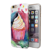 Love Cupcakes and Watercolor 2-Piece Hybrid INK-Fuzed Case for the iPhone 6/6s or 6/6s Plus