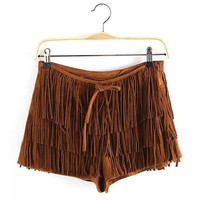 Solid Faux Suede Tassel Side Zipper Pockets Shorts