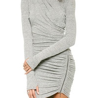 Gray Long Sleeve Ruched Side Zip Bodycon Mini Dress