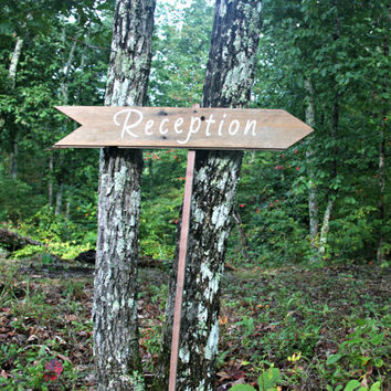 Wedding Sign - Directional - Reception - Wooden, Rustic, Reclaimed Lumber, Photo Prop