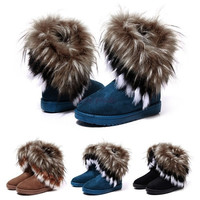 Women Fashion  Winter Fox Rabbit Fur Tassel Suede Snow Real Leather Boots 9125 Women's shoes = 1745600580