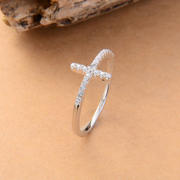 Elegant Cross Womens Ring Silver and Rose Gold Colors Available