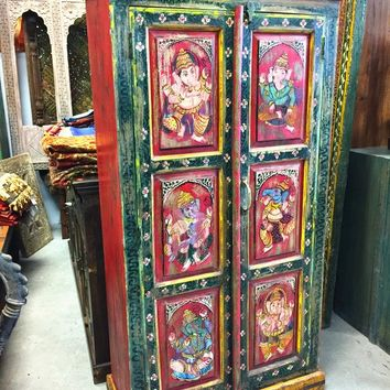 Indian Cabinet Storage Armoire, Hand Painted Cabinet India