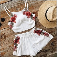 White Floral Embroidered Two Piece Dress