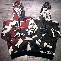 Supreme Camouflage Embroidery Top Sweater Hoodie I