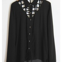 Skull Button Down Caged Blouse - Black