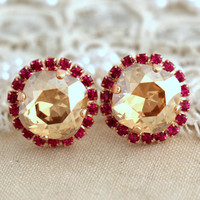 Topaz Champagne pink fuchsia earrings, Topaz stud earrings, Swarovski earrings, Champagne halo earrings, Gift for her, Rose gold plated stud