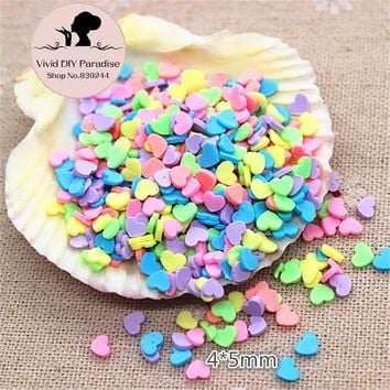1000pcs/pack 4*5mm Mix Colors Flat Heart Fimo Polymer Clay Slices Sticks Nail Tips Decoration/Craft Scrapbooking,QP016