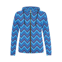 Blues Zigzag All Over Print Full Zip Hoodie for Women (Model H14) | ID: D1761031