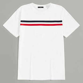 Fashion Casual Men Short Sleeve Tape Front Tee
