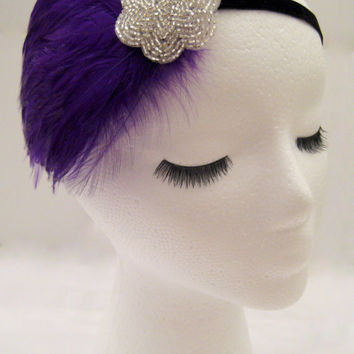 The Lucille - purple Gatsby head piece, royal purple feather fascinator, purple 1920s headband, purple silver 20s hair accessories