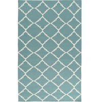 Lattice Teal Blue Dhurrie Rug