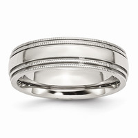 Men's Stainless Steel Grooved and Beaded Polished Wedding Band Ring: RingSize: 7