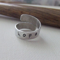 Personalized Wrap Ring - Hand Stamped Aluminum - Adjustable