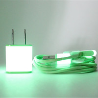 FREE FAST SHIPPING Glow in the Dark iPhone accessories - includes wall adapter and cable