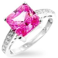 Margret's Pink Sapphire Color Princess Cut Engagement Cubic Zirconia CZ Ring