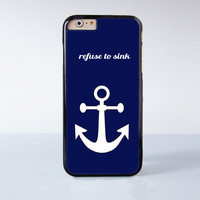 "White anchor on Blue text word quote plastic phone case for iPhone 6 (4.7"")  More case style can be selected"