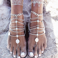 2017 New Fashion Anklets Jewelry Gold Ladies Modern Beach Silver Bohemian Simple Anklets For Women Toe Ring Anklets Fine Jewelry