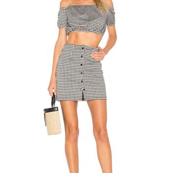 by the way. Judith Button Skirt Set in Black & White   REVOLVE