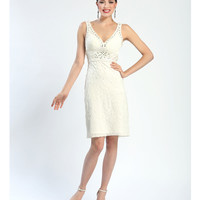 Sue Wong Fall 2014 N4367 Ivory Sleeveless Embroidered Pleated & Beaded Short Dress