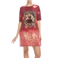 America Rock BoxTee Bleached Tunic-Red