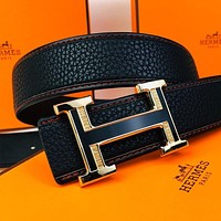 Hermes crocodile men's vintage H letter buckle belt
