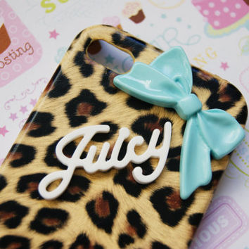 Juicy Leopard Cheetah Print with Sleek Blue Bow Iphone 4 4s Cell Phone Case