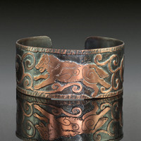 Running Wolf Etched Copper Cuff Bracelet. Copper Wolf Jewellery.