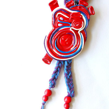 Heart pendant necklace, anatomical heart, red statement necklace, polymer clay jewelry, knit jewelry, curiosities, wearable art, mixed media
