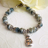 Blue White Bracelet with a Silver Snowman Charm Blue Silver Beaded Bracelet Women Winter Jewelry Christmas Gift for Her