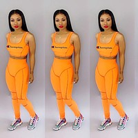 Champion tide brand women's sleeveless embroidery letter women's sports suit two-piece orange