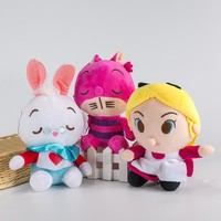 New Alice In Wonderland Anime The Red Queen Cheshire Cat White Rabbit Alice Q Stuff Plush Toy Doll Birthday Gift Collection