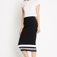 Sporty Ribbed Knit Bodycon Skirt