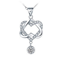 18K White Gold Plated Double Heart White Crystal Pendant Necklace