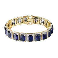 Men Iced Out Blue Ruby CZ Solitaire Bracelet Hip Hop Rick Ross 14k Gold Plated