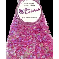 Iridescent Pink Chunk Body and Face Festival Glitter (Large 15 Grams)