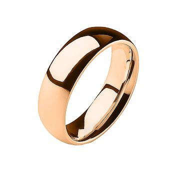 Simple Rose - 6mm Mirror Polished Glossy Rose Gold IP Stainless Steel Traditional Wedding Band