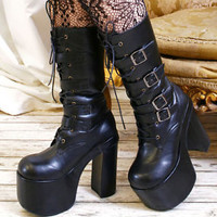 "Goth Punk Visual Kei 4 Strap Buckle Cosplay 6"" Chunky Heel Platform Calf Boot"