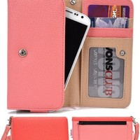 Smartphone Wallet Case fits Blu Amour D290 with Credit Card Holder Universal Fit (Coral and Light Pink) + NextDIA Velcro Cable