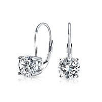1CT Solitaire Round Brilliant AAA CZ Drop Earrings Birthstone Colors