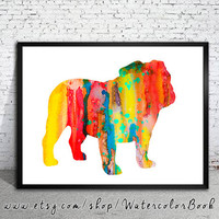 English Bulldog Watercolor Print, Children's Wall, Art Home Decor, dog watercolor,watercolor painting, English Bulldog art,animal watercolor