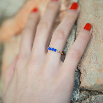 Chain ring - dainty ring - blue and gold stacking ring - tiny ring - beaded chain ring - electric blue