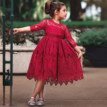 Kids dresses for Girls Spring Clothes Half-sleeve Lace Party Costume Red Children Elegant Prom Frocks 3-8Y Girls Casual Wear
